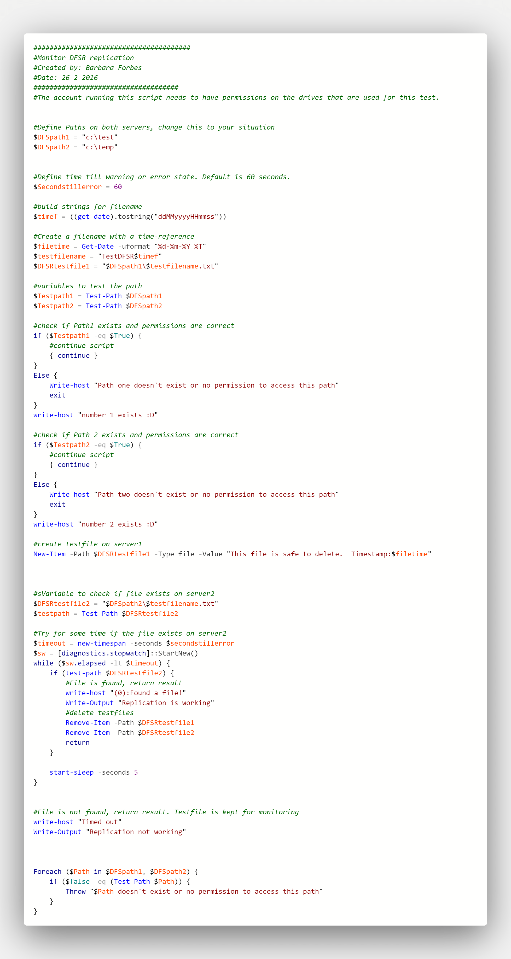my first PowerShell script