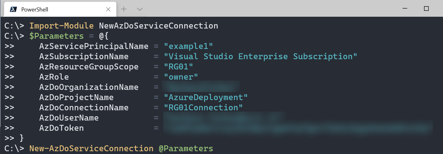 Azure DevOps service connection to Azure with PowerShell: example of PowerShell window