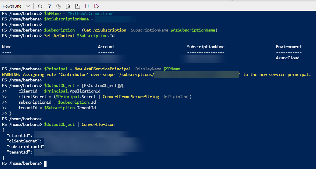 Deploy Azure PowerShell Functions through GitHub Actions: Create Service principal