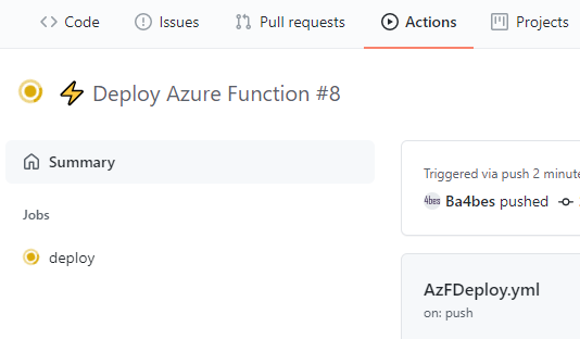 Deploy Azure PowerShell Functions through GitHub Actions