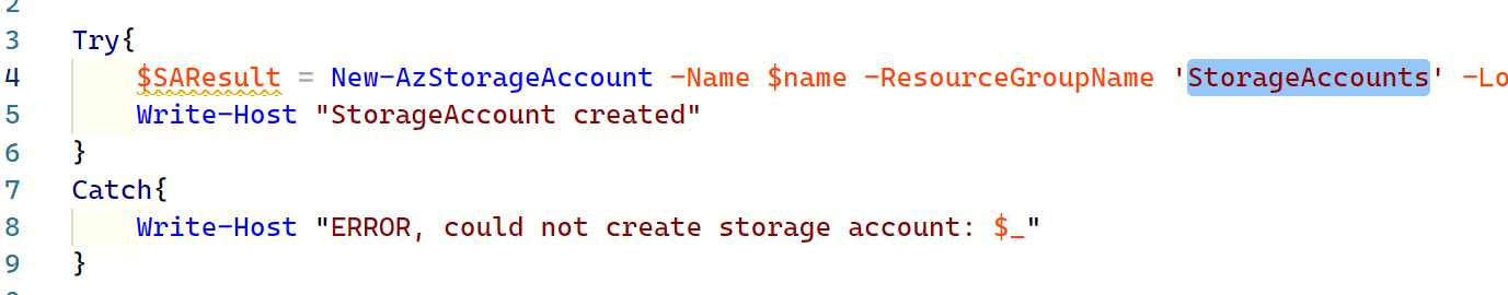 Azure Durable Functions for PowerShell: Human interaction: Code to create a storage account that shows that the resourcegroup needs to be changed