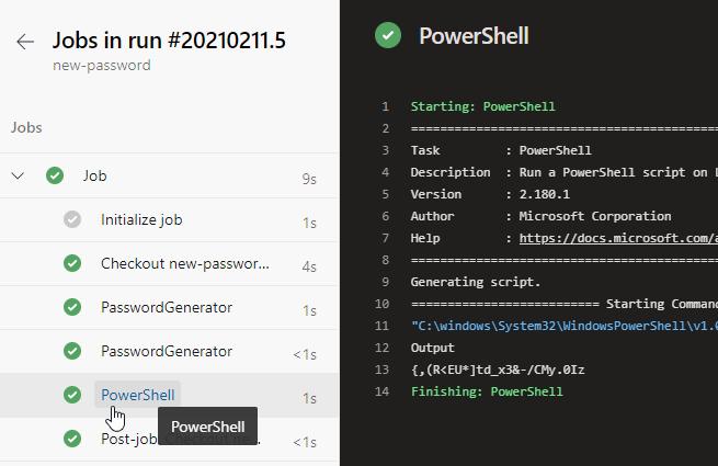 custom Azure DevOps PowerShell task: Result