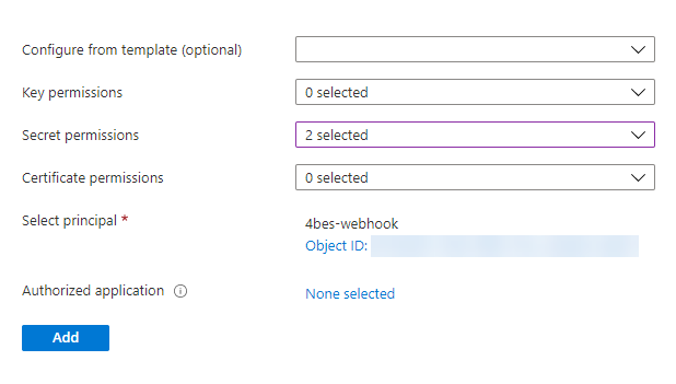 Create a secure GitHub webhook to trigger an Azure PowerShell Function: the menu to create access policies in key vault