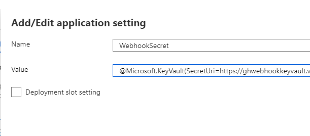 Create a secure GitHub webhook to trigger an Azure PowerShell Function: The application settings in the Function app